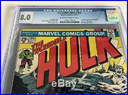 1st Wolverine in Incredible Hulk #180 comic CGC 8.0