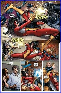 Billy Tan 2009 Spider Woman Vs. Venom, Wolverine, Ms. Marvel Original Art