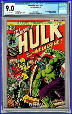 DSG204. Incredible Hulk #181 CGC 9.0 VF/NM Marvel Comics (1974) 1st Wolverine