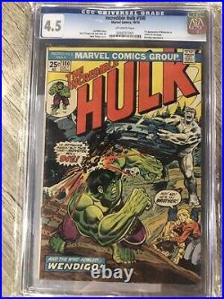 Incredible Hulk #180 Cgc 4.5 Off-wht New Case! 1st App. Wolverine/ Mvs Intact