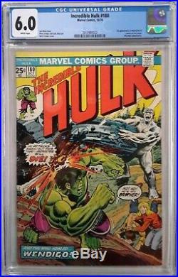 Incredible Hulk #180 Cgc 6.0(oct 1974, Marvel)1st App Of Wolverinewhite