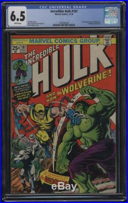 Incredible Hulk #181 CGC 6.5 White Pages Origin & 1st appearance Wolverine Logan