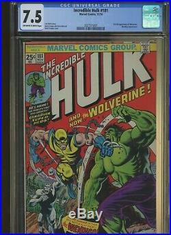 Incredible Hulk 181 CGC 7.5 Marvel 1974 1st Full Wolverine. Wendigo App
