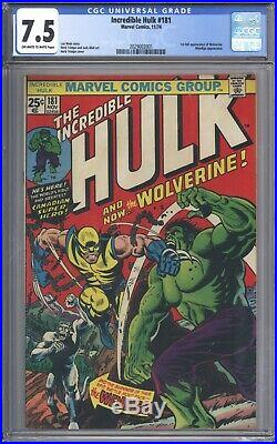 Incredible Hulk #181 CGC 7.5 Vol 1 Beautiful Higher Grade 1st App Wolverine