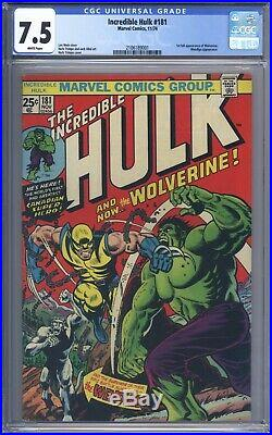 Incredible Hulk #181 CGC 7.5 Vol 1 Beautiful Higher Grade 1st App of Wolverine