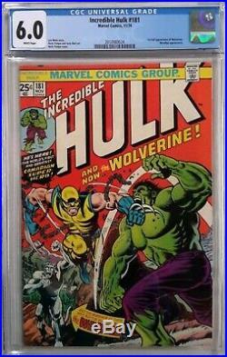 Incredible Hulk #181 Cgc 6.0(nov 1974, Marvel)1st App Of Wolverinewhite