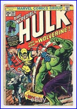 Incredible Hulk #181 Vol 1 Nice Lower Mid Grade 1st Wolverine No Marvel Stamp