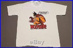 L NOS vtg 80s 1988 WOLVERINE marvel comic t shirt CS4