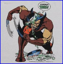 M NOS thin vtg 80s 1989 WOLVERINE Somebody Dies marvel comic t shirt 90.41