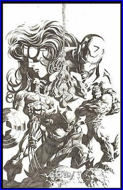 New Avengers Marvel Promotional Banner Art by Mike Deodato Jr Wolverine Cap
